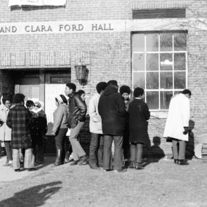 students outside of Ford Hall