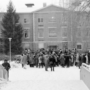students gathered outside Ford Hall