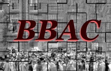 Brandeis Black Archive Collective Logo over mosaic of a blurred black and white archive photo from Brandeis