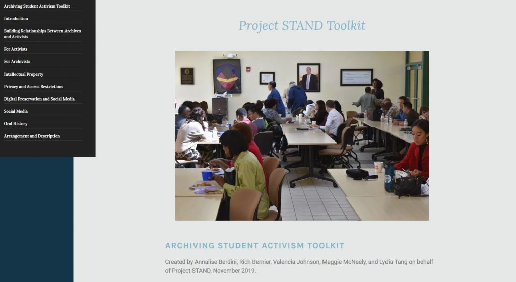 Image of Archiving Student Activism Toolkit on webpage