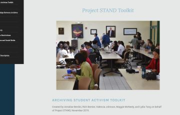Archiving Student Activism Toolkit on the Project STAND webpage