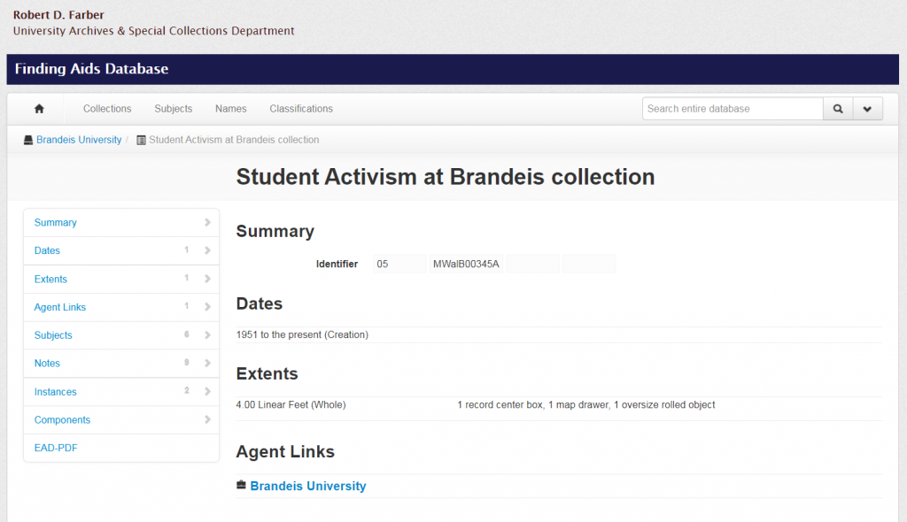 Screenshot of Student Activism at Brandeis finding aid