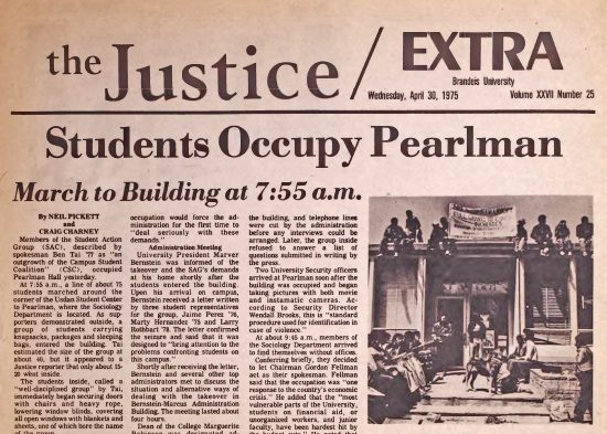 """Image of top portion of front page of the Justice April 30, 1975 called """"Students Occupy Pearlman"""""""