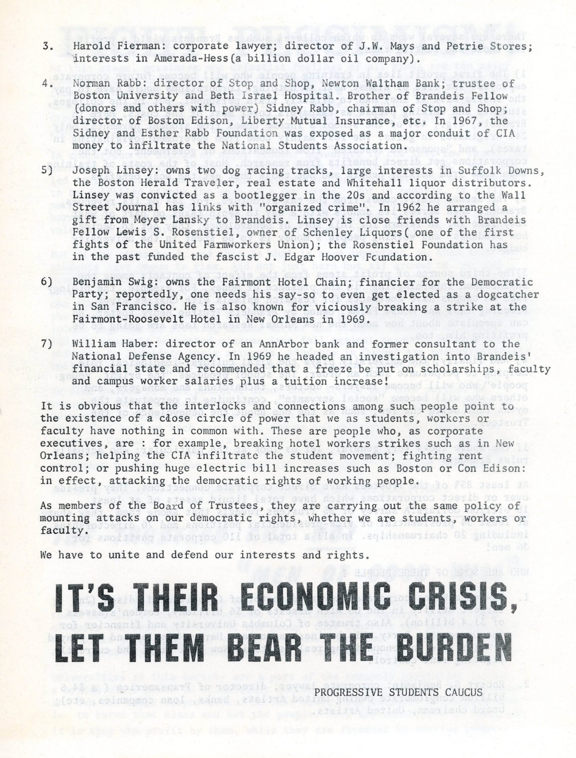"""Unite to Support the Three Just Demands of the CSC!"" page 4 [student pamphlet, undated]"